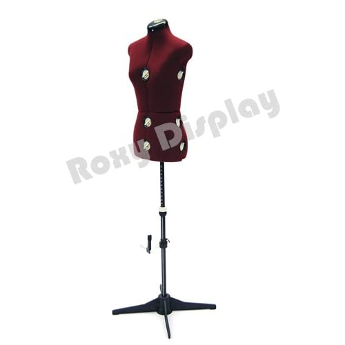 (JF-FH-2) ROXYDISPLAY™ 12-Dial Fabric-Backed Small Adjustable Dress Form with Base, Color: Wine color