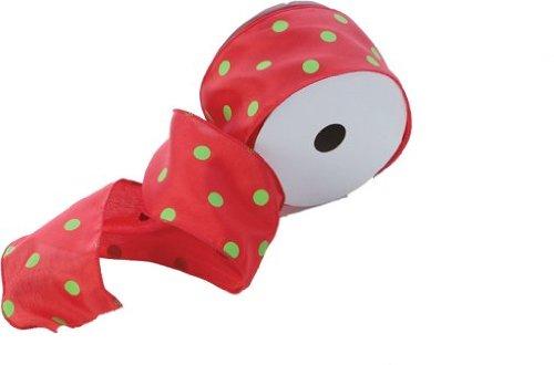 """Red/Lime Polka Dot Ribbon 2.5"""" X 10 Yd"""