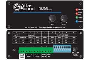 Atlas Sound TSD-ML11 1x1 MicLine Preamp with EQ Mute Functions