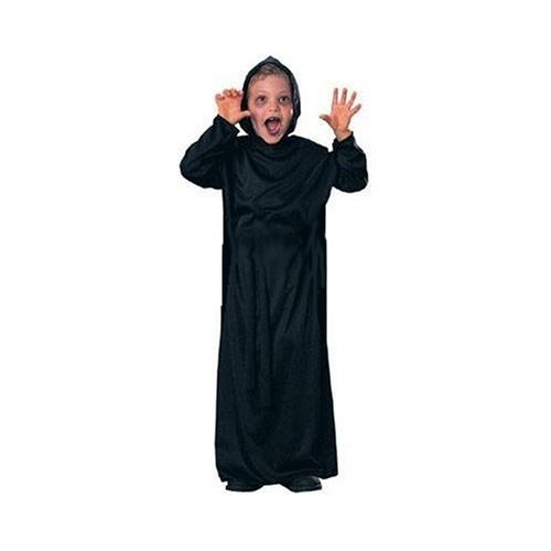 Black Hooded Robe Grim Reaper Horror Wizard Ghoul with Hood Child Size M Medium 8-10