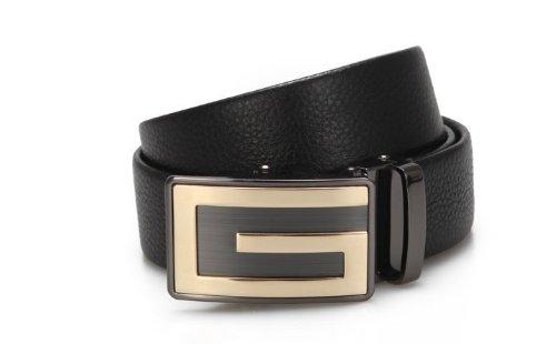 CA Men's 100% Leather Alloy Shape Automatic Buckle Reversible Belt Color Black Size Medium