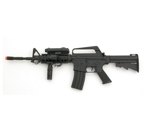 Spring M16 Assault Rifle FPS-200, Red Dot, Laser, Foregrip, Collapsible Stock Airsoft Gun