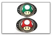 Nintendo MUSHROOMS Reversible Plaque Metal BELT BUCKLE