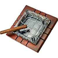 Wood and Crystal Cross-Hatched Ashtray