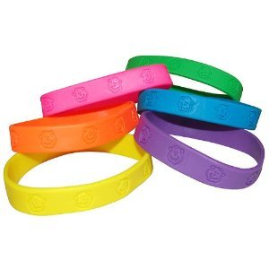 Fun Express Party Favors 24 -Rubber Neon Monkey Bracelets - 1