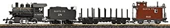 LGB G Scale Steam Freight Starter Set Special Edition ATSF Steam Loco With Tender, Flatcar, Caboose, Track, Power Pack, Smoke Oil