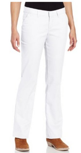 Dickies Women's Wrinkle Resistant Flat Front Twill Pant With Stain Release Finish,White,14 Regular
