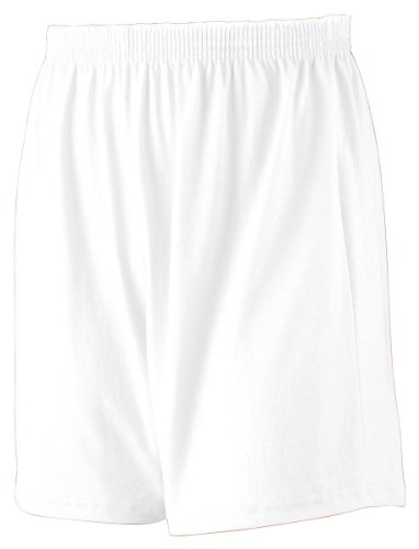 Augusta Sportswear Youth Heavyweight Jersey Knit Short, White, Large front-943549