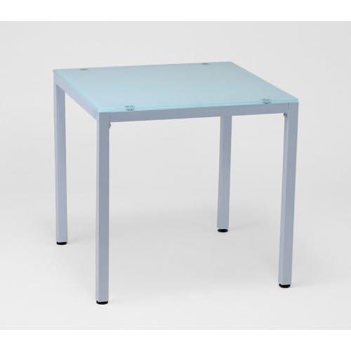 10mm厚 ガラスダイニングテーブル 75X75cm ホワイト(白) 2人用