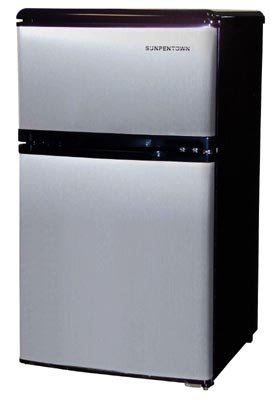 Sunpentown RF 320S 3 1/5 Cubic Foot Double Door Refrigerator, Stainless
