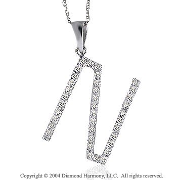 14k White Gold Large Casual Fun Diamond ^N^ Initial Pendant