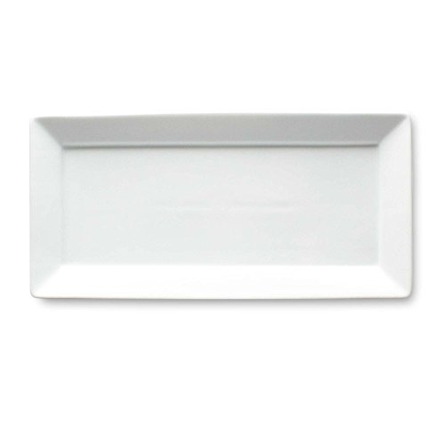 Tag Whiteware Porcelain Ceramic Rectangular Serving Platter, Small, 14.125-Inch Long, White
