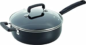 T-fal C1573364 Signature Nonstick Expert Interior Thermo-Spot Heat Indicator Jumbo Cooker Dishwasher Safe Pan with Glass Lid Cover Cookware