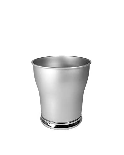 InterDesign Jacqueline Waste Can, Pearl Silver/Chrome