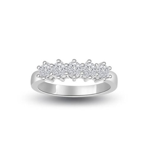 0.60 carat Diamond Half Eternity Ring for Women. H/SI1 Round Brilliant Diamonds in 6 Claw Setting in 18ct White Gold