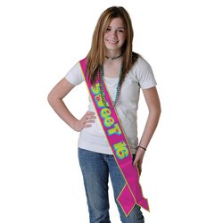 Beistle 60197 Sweet 16 Satin Sash, 33-Inch by 4-Inch