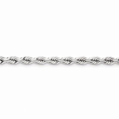 Solid 14k White Gold 5.5mm Diamond Cut Rope Bracelet - with Secure Lobster Lock Clasp