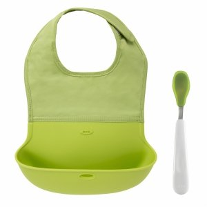 Oxo Tot On-The-Go Bib & Spoon Set, Green 1 Ea