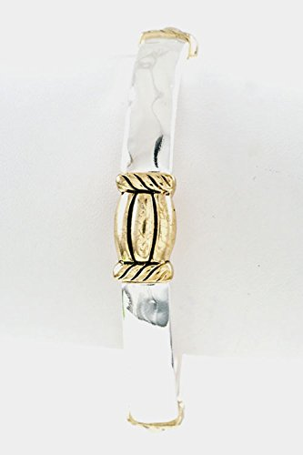 Karmas Canvas Hammered Cable Accent Stretch Bracelet (Two Tone)