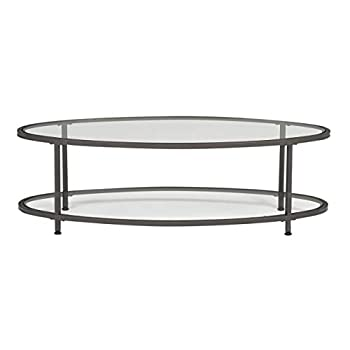 "Studio Designs Home 71014 Camber Modern Oval Coffee Table, 48"", Pewter/Clear Glass"
