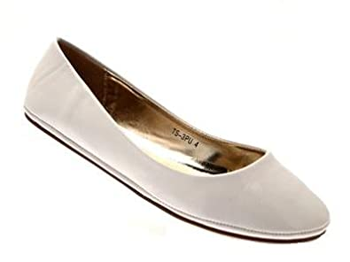 WOMENS PATENT BALLET PUMPS FLATS SHOES LADIES GIRLS COMFORTABLE BALLERINAS FAUX LEATHER WHITE SIZE 3