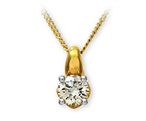 18ct Yellow Gold Solitaire Pendant + 46cm Chain by Ariel, H/SI1 Certified Diamond, Round Brilliant, 0.50ct