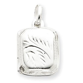 Sterling Silver Diamond-Cut Rectangular Locket - JewelryWeb