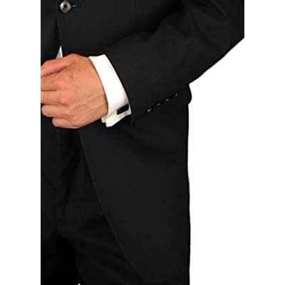 Executive Italian Linen Mens Suit Modern Two Button 2pc Hand Tailored Summer Suit Black