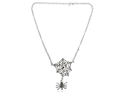 Spicy Key Antique Synthetic Jet Black Rhinestones Spider Web Chain Long Necklace (Spiderweb Rhinestone Necklace)