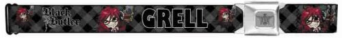 Black Butler Seatbelt Belt - Main Character Grell w/ Argyle Background & Logo