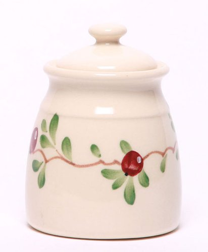 Emerson Creek Ceramic Sugar Jar, Stoneware Dishes Made In The Usa (Cranberry)