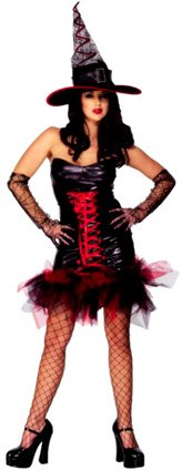 Frilly sexy halloween witch costume for women