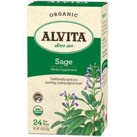 Organic Sage Leaf Tea, 24 Bags (Pack of 4) by Alvita