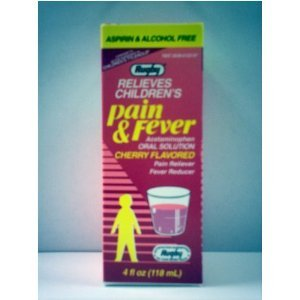 Children's Pain & Fever Oral Solution Acetaminophen Cherry by Rugby (118 mL) 4 fl oz