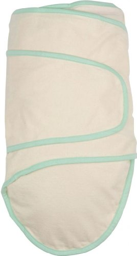 Miracle Blanket Swaddle, Beige with Green Trim