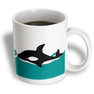 Cute Orca Whale in The Ocean at Night Ceramic Mug, 11-Ounce