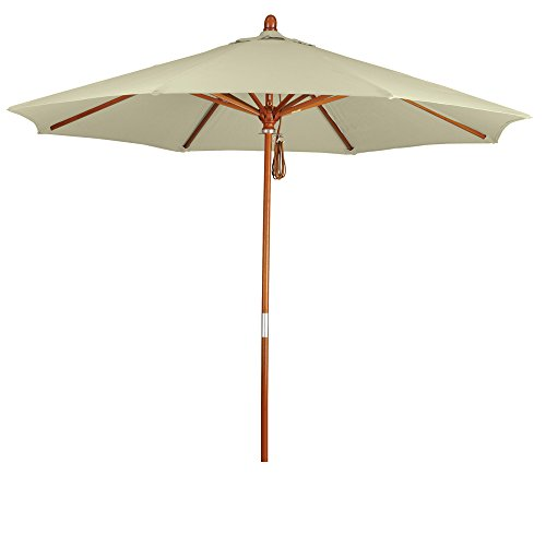 California Umbrella 9' Round Hardwood Frame Market Umbrella, Stainless Steel Hardware, Pulley Lift, Sunbrella Canvas