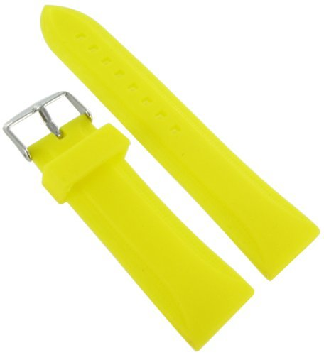 24mm Milano Trendy Silicone Yellow Waterproof Soft Raised Pattern Replacement Watch Band Strap