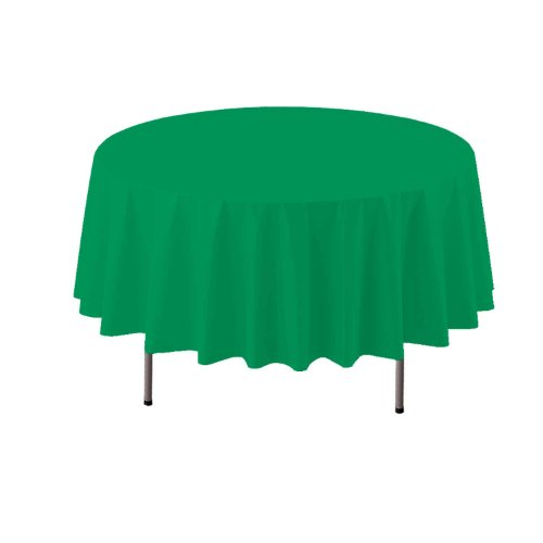 "Party Essentials ValuMost Round Plastic Table Cover, 84"", Kelly Green"