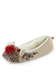 Reindeer Design Knitted Slippers