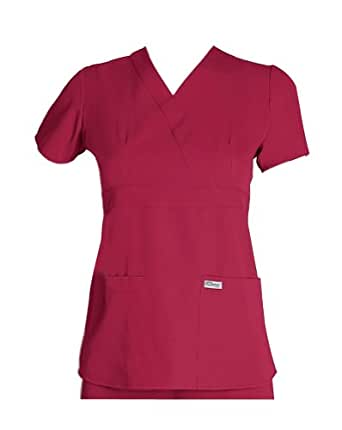 Scrubs - Greys Anatomy by Barco Uniforms Junior Fit #4153 3 Pocket Mock Wrap Scrub Top Hot Tamale, XX-Small
