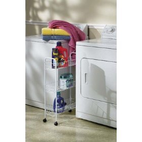 Household Essentials 05121 Slim line 3-Tier Storage Cart, White Metal Frame