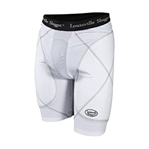 Louisville Slugger Mens Gold Shield Sliding Shorts with Cup by Louisville Slugger