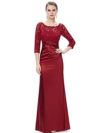 Ever Pretty Womens Elegant Lace Long Sleeve Floor Length Evening Dress 4 US Burgundy