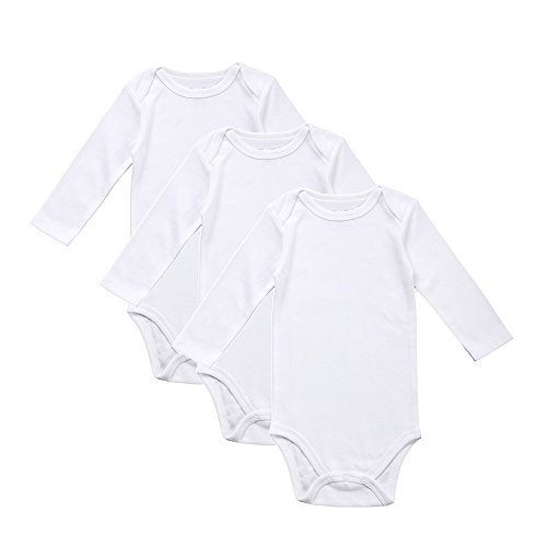 Romperinbox Place Unisex Baby Bodysuits 100% Cotton Boys Girls 0-12 Months (0-3M, White-3 Pack)