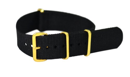 20Mm Black - With Gold Buckles Nylon Nato Ballistic Military Watch Band Strap G-10! Fits All Watches!!!!!