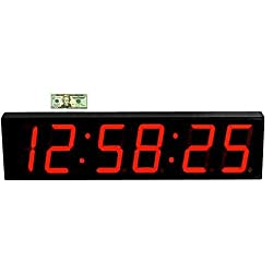 Large Display Digital Countdown Wall Clock - 5 Red Led Count Up/ Interval Timer/ Stopwatch Remote Control Clock