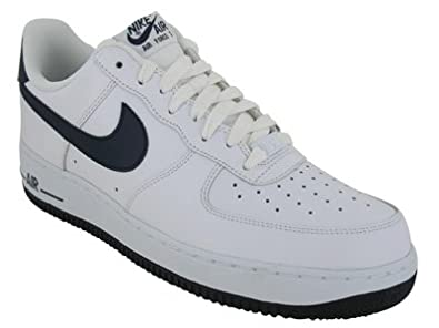 navy blue and white air force ones
