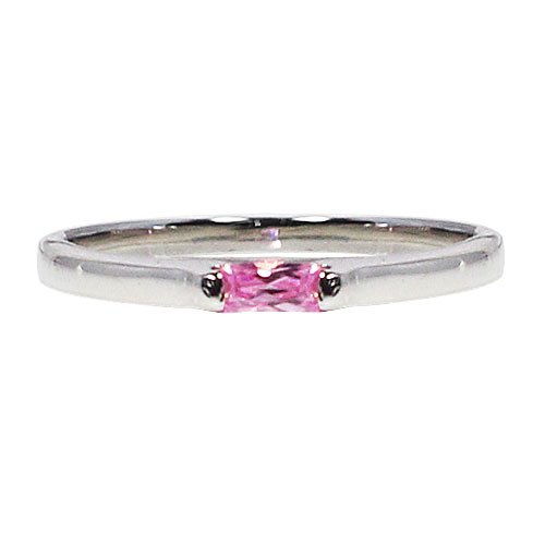 Pink Petite Promise Ring In Sterling Silver By GemGem Jewelry-Size 8