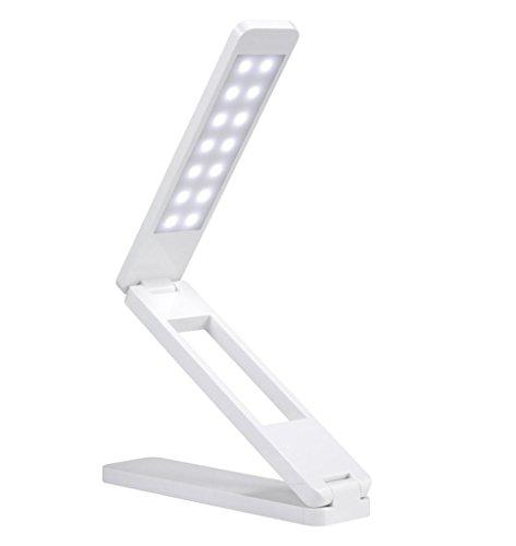 Generic 1.8W Keyswitch 2-Level Dimmable Eye-Care Folding Reading Lamp,White